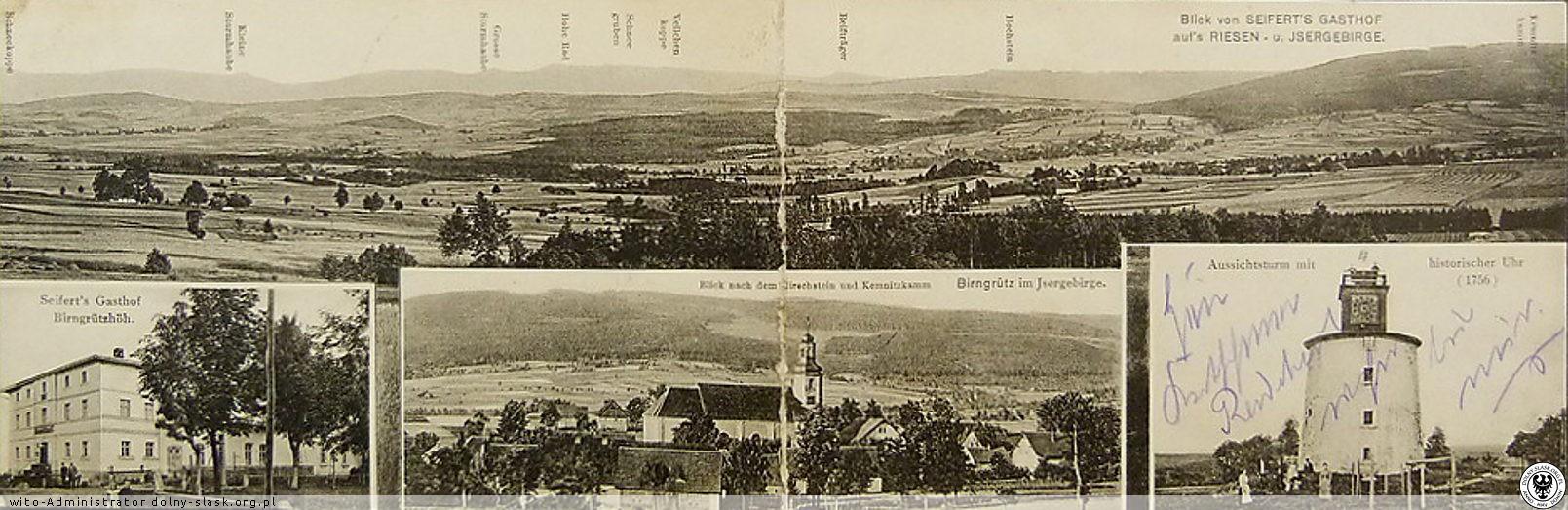 Grudza - Panorama Karkonoszy i Izerów z gospody Seiferta